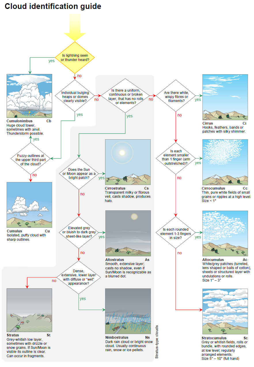 graphic relating to Types of Clouds Worksheet Printable called Cloud id specialist World wide Cloud Atlas